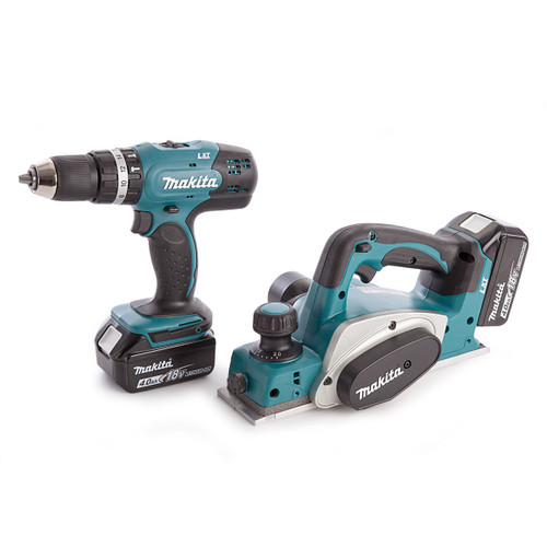 Makita DHP453 Combi Drill, DKP180 Planer, Charger and Medium Toolbag (2 x 4.0Ah Batteries) - 4
