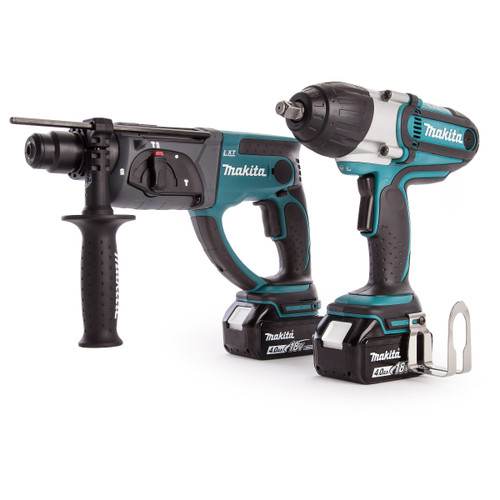 Makita DHR202 SDS+ Rotary Hammer Drill, DTW450 Impact Wrench, Charger + Medium Toolbag (2 x 4.0Ah Batteries) - 4