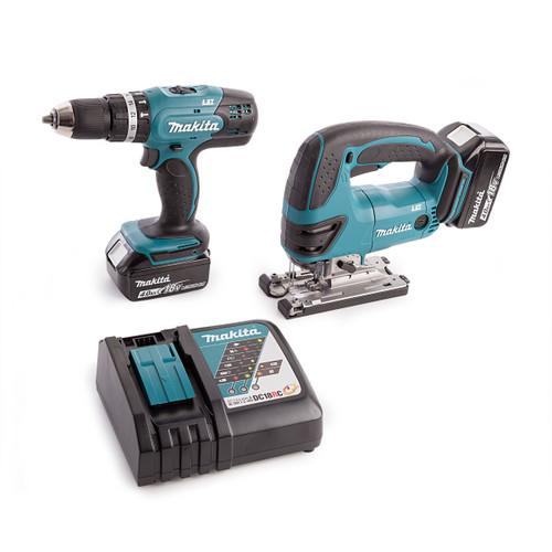 Makita DHP453 Combi Drill, DJV180 Jigsaw, Charger and Medium Toolbag (2 x 4.0Ah Batteries) - 4