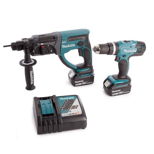 Makita DHR202 SDS+ Rotary Hammer Drill, DHP453 Combi Drill, Charger and Medium Toolbag (2 x 5.0Ah Batteries) - 4