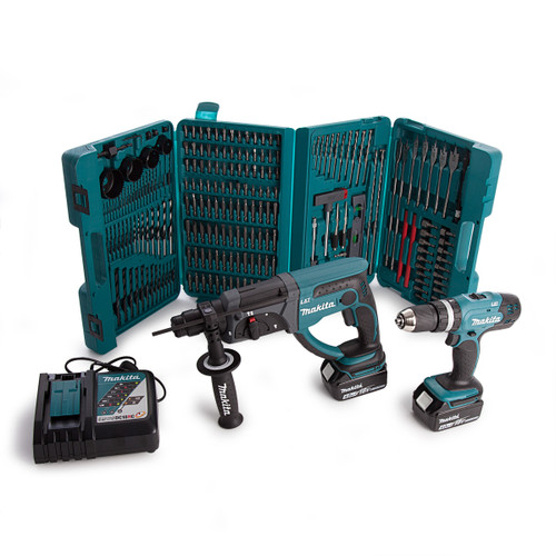 Makita DLX2025M 2-Piece 18V Cordless Kit (Combi Drill & SDS+ Hammer) + P-44046 216 Piece Accessory Set - 4