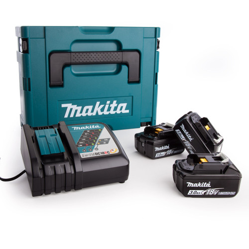 Makita 3 x BL1830B Batteries, DC18RC Fast Charger and Makpac Connector Case Type 2 - 3