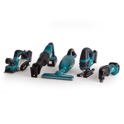 Makita 18V 5 Piece Woodworkers Kit - DKP180Z Planer, DJV180Z Jigsaw, DTM50Z Multicutter, DJR186Z Reciprocating Saw & DCL180Z Vaccuum (3 x 4.0Ah Batteries) - 8