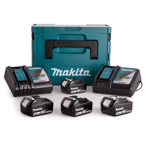 Makita 2 x DC18RC Chargers in Kitbox with 4 x 3.0Ah Batteries - 2