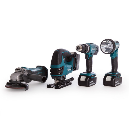 Makita Combi Drill, Grinder, Jigsaw + Torch Kit (3 x 4.0Ah Batteries) - 7