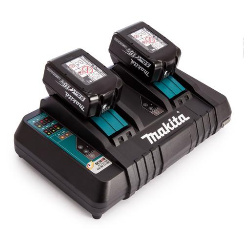 Makita DC18RD 18V Twin Charger + 2 x BL1850B 5.0Ah Batteries - 1
