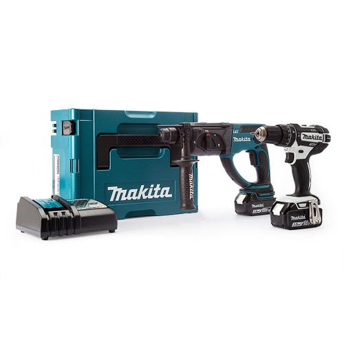 Makita 18V Twin Pack - DHP482 Combi Drill + DHR202Z SDS Plus Hammer Drill (2 x 3.0Ah Batteries) - 6