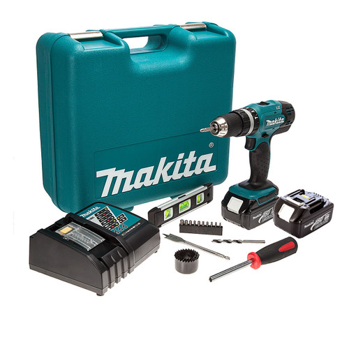Makita DHP453RFTK 18V Cordless Combi Drill (2 x 3.0Ah Batteries) with 101 Piece Accessory Set - 2