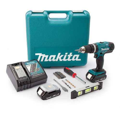 Makita DHP453 18V Cordless Combi Drill (2 x 1.5Ah Batteries) with 101 Piece Accessory Set - 5