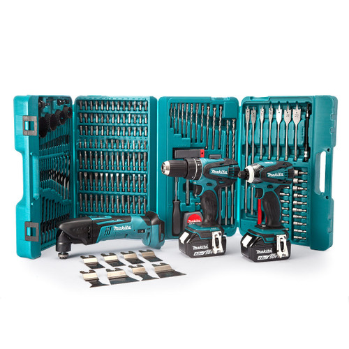 Makita 18V 3 Piece Kit - DHP456 Combi Drill, DTD146 Impact Driver & DTM50Z Multi Tool (2 x 4.0Ah Batteries) with 216 Piece Drill & Bit Set - 6