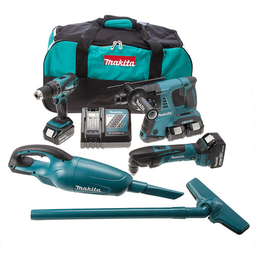 Makita DLX2069MX 18V 3 Piece Kit & DCL180Z Vacuum - DHP456 Combi Drill, DHR263 Rotary Hammer & DTM50Z Multicutter (4 x 4.0Ah Batteries) - 5