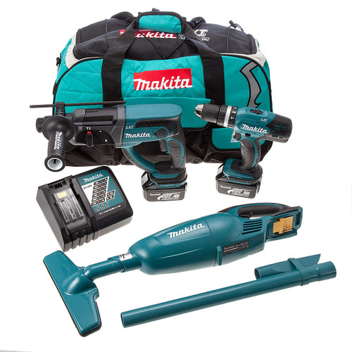 Makita DLX2025 18V Twin Pack & DCL180Z Vacuum - DHP453 Combi Drill + DHR202 SDS Rotary Hammer Drill (2 x 3.0Ah Batteries) - 4