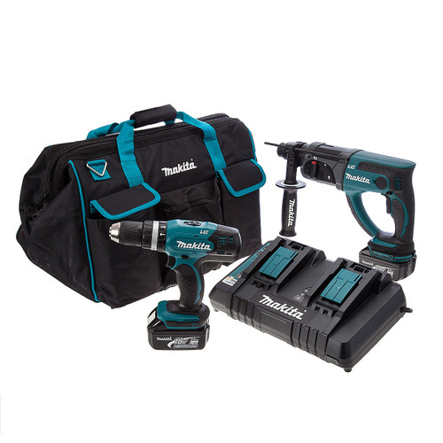 Makita 18V Toolstop Exclusive Twin Pack - DHR202Z SDS+ Hammer Drill + DHP453Z Combi Drill (2 x 3.0Ah Batteries) - 4