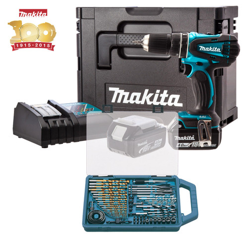 Buy Makita DHP456SP1R Metallic Blue Combi Drill 18V Cordless li-ion (2x 4Ah Batteries) with MakPac Case and 75 Piece Accessories at Toolstop