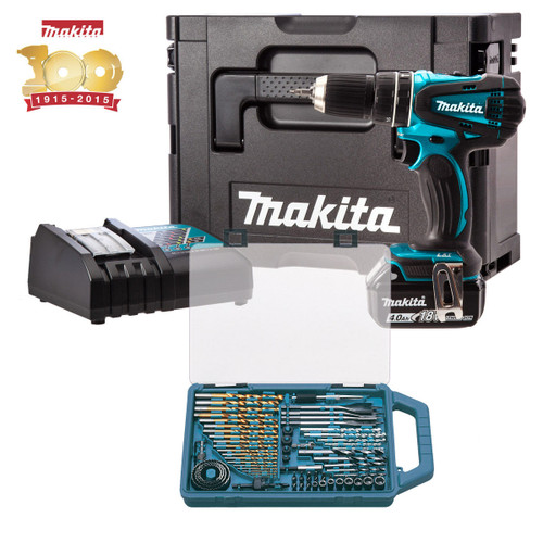 Buy Makita DHP456SP1R Metallic Blue Combi Drill 18V Cordless li-ion (1x 4Ah Battery) with MakPac Carry Case and 75 Piece Accessories at Toolstop