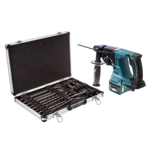 Buy Makita DHR242Z 18V SDS Plus Rotary Hammer Drill (Body Only) with 17 Piece Drill & Chisel Set at Toolstop