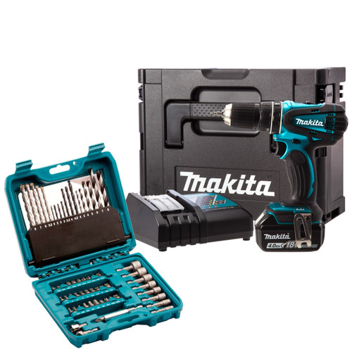 Buy Makita DHP456SP1R Metallic Blue Combi Drill 18V Cordless li-ion (1x 4Ah Battery) with MakPac Carry Case and 60 Piece Accessories at Toolstop