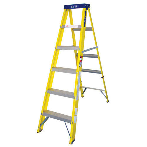 Buy Lyte GFHS6 Trade Glassfibre Swingback Stepladder- 6 Tread at Toolstop