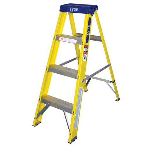 Buy Lyte GFHS4 Trade Glassfibre Swingback Stepladder - 4 Tread at Toolstop