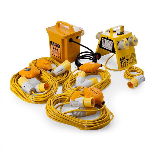 Just 110 Site Kit 5, Transformer + Extension Leads x 4 - 2.5mmï¾_ x 14m + 4 Way Junction Box With USB Ports 110V - 6