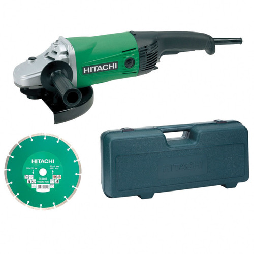 "Buy Hitachi G23SS/CD 230mm 9"" Angle Grinder with Case & Diamond Blade 240V at Toolstop"