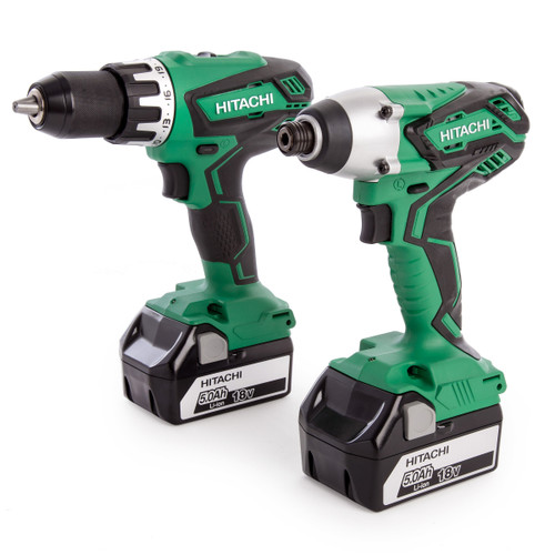 Buy Hitachi KC18DGL(S)/JF 18V Combi Drill + Impact Driver Twin Pack (2 x 5.0Ah Batteries) at Toolstop
