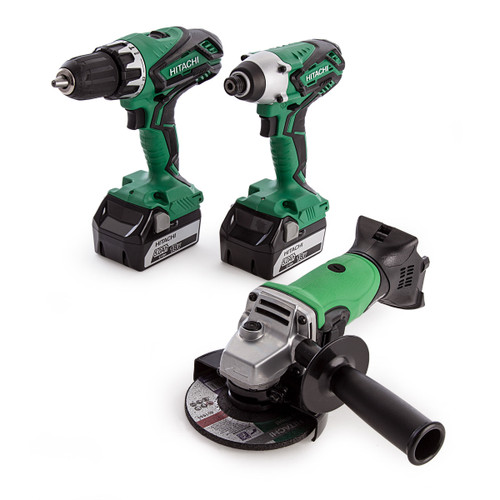Hitachi KC18DGL Combi Drill and Impact Driver Set, G18DSL Angle Grinder, Small Bag and Charger (2 x 5.0Ah Batteries) - 6
