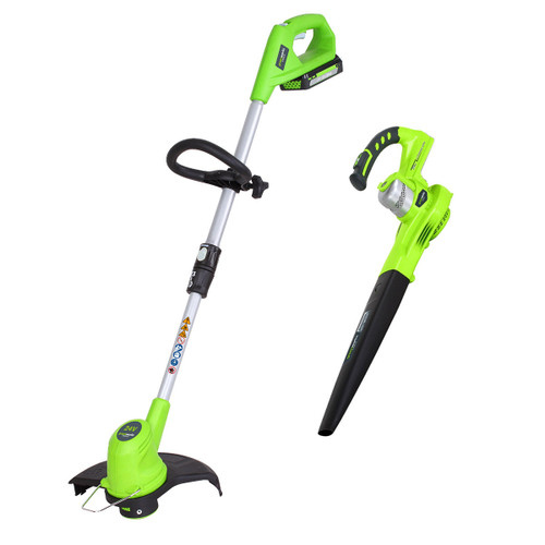 Buy Greenworks GWTPLTB 24V Cordless Twinpack Linetrimmer / Blower (1 x 2.0Ah Battery) at Toolstop