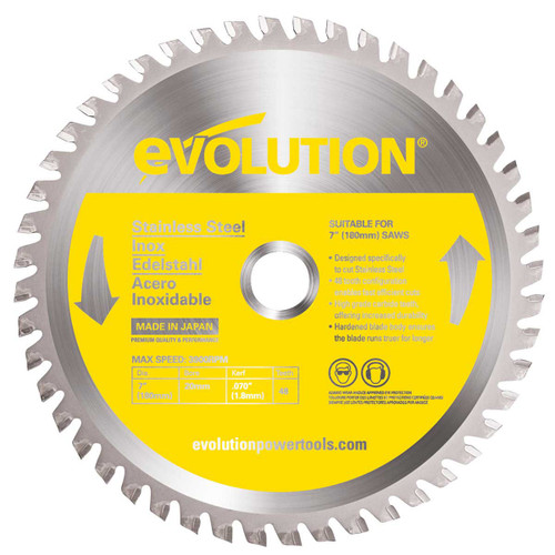 Buy Evolution EVOBLADESS TCT Saw Blade for Stainless Steel 180mm x 48T at Toolstop
