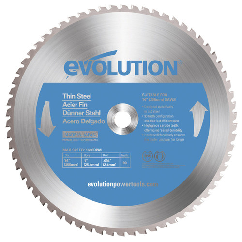 Buy Evolution EVOBLADE355TS TCT Saw Blade for Thin Steel 355mm x 90T at Toolstop