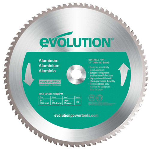Buy Evolution 80TBLADE14 TCT Saw Blade for Aluminium 355mm x 80T at Toolstop