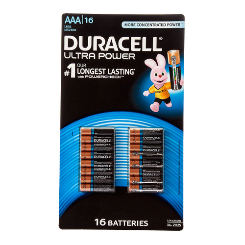 Buy Duracell AAA Ultra Power Batteries with Powercheck 1.5V Alkaline (Pack of 16) at Toolstop