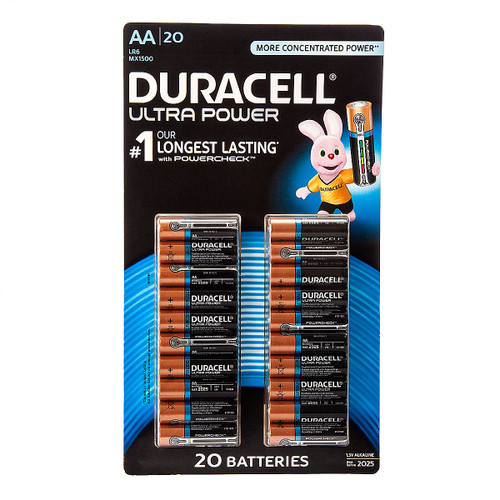 Buy Duracell AA Ultra Power Batteries with Powercheck 1.5V Alkaline (Pack of 20) at Toolstop