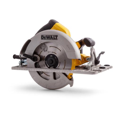 Dewalt DWE576K Circular Saw 190mm (61mm DOC) with Kitbox and Guide Rail Compatible Base 110V - 5