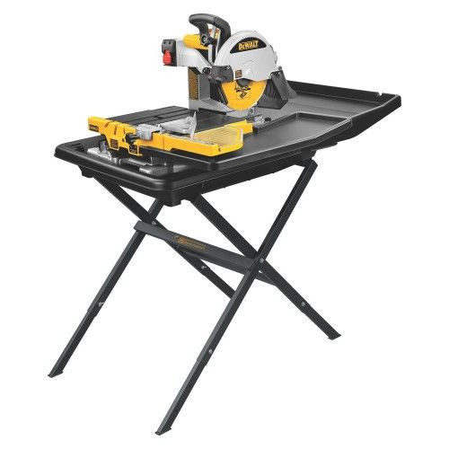 Buy Dewalt D24000S 250mm Slide Table Wet Tile Saw and Leg Stand 110V at Toolstop