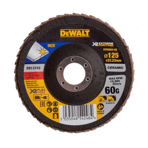 Dewalt DT99584-QZ Flap Disc XR FlexVolt Extreme Runtime 125mm x 22.23mm x 60 Grit - 2