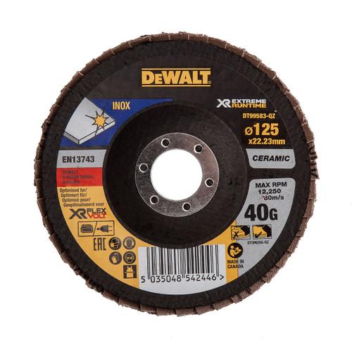 Dewalt DT99583-QZ Flap Disc XR FlexVolt Extreme Runtime 125mm x 22.23mm x 40 Grit - 2