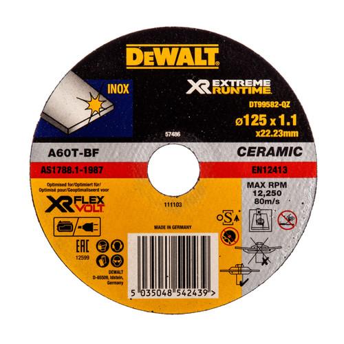 Dewalt DT99582 XR Extreme Runtime Grinder Disc 125 x 1.1 x 22.23mm - 1