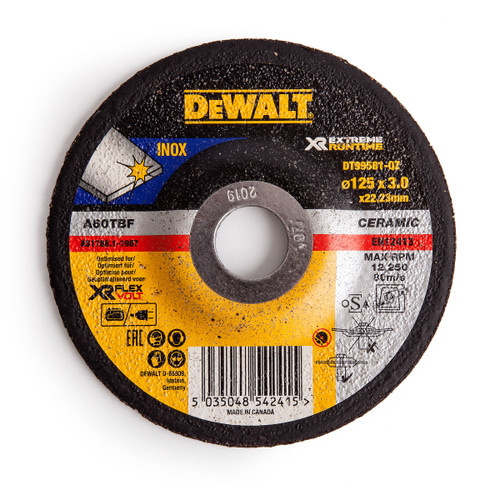 Dewalt DT99581 XR Extreme Runtime Grinder Disc 125 x 3 x 22.23mm - 1