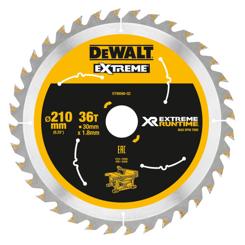 Dewalt DT99566 XR Extreme Runtime Table Saw Blade 210mm x 30mm x 36T - 2