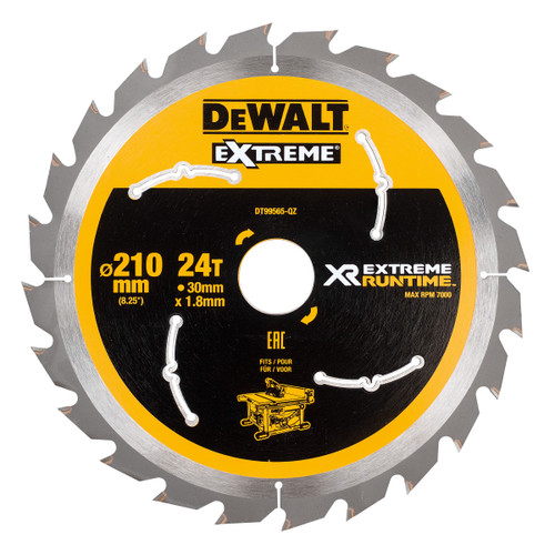Dewalt DT99565 XR Extreme Runtime Table Saw Blade 210mm x 30mm x 24T - 2