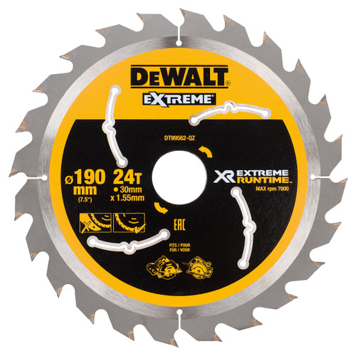 Dewalt DT99562 XR Extreme Runtime Circular Saw Blade 190mm x 30mm x 24T - 2