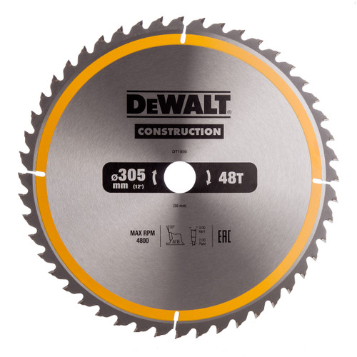 Dewalt DT1959 Construction Circular Saw Blade 305mm x 30mm x 48T - 3
