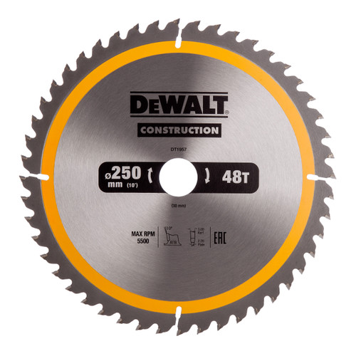 Dewalt DT1957 Construction Circular Saw Blade 250mm x 30mm x 48T - 3