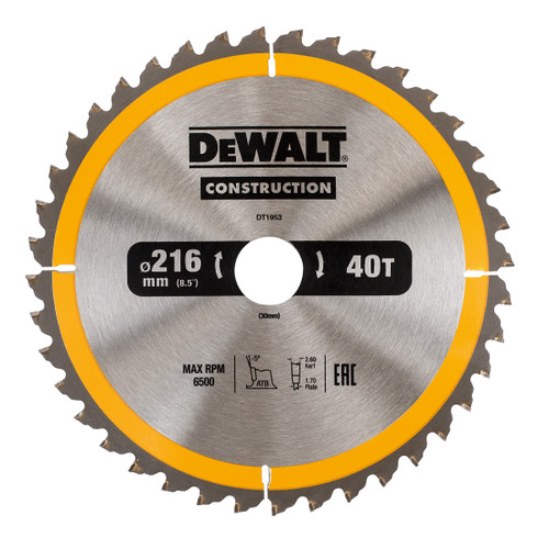 Dewalt DT1953 Construction Circular Saw Blade 216mm x 30mm x 40T - 4