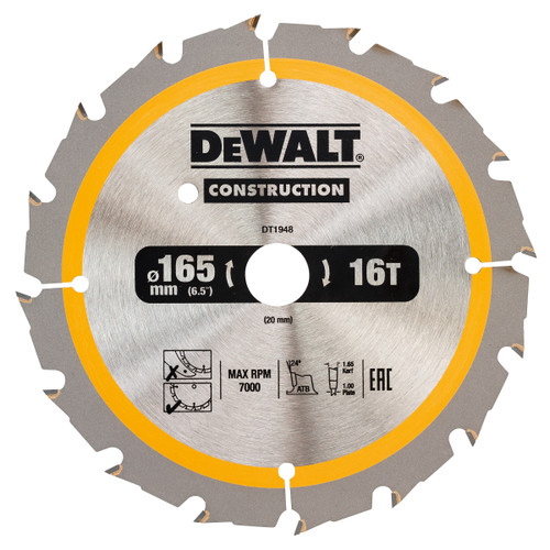 Dewalt DT1948 Construction Circular Saw Blade 165mm x 20mm x 16T - 2