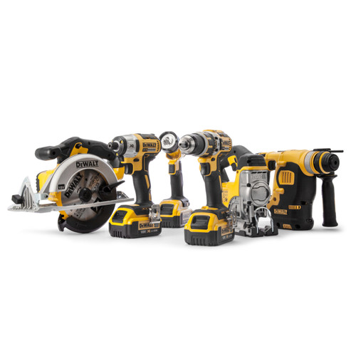 Dewalt DCK699M3T 18V 6 Piece Kit - DCD795 Combi Drill, DCF887 Impact Driver, DCS391 Circular Saw, DCH253 SDS+ Hammer, DCS331 Jigsaw & DCL040 LED Light (3 x 4.0Ah batteries) with 2 x TSTAK Boxes - 7