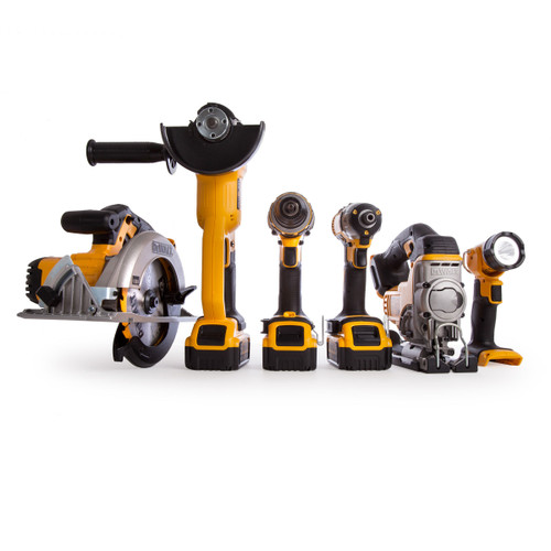 Dewalt DCK694P3 18V Brushless 6 Piece Kit - DCD996 XRP Combi Drill, DCF887 Impact Driver, DCS391 Circular Saw, DCG412 Angle Grinder, DCS331 Jigsaw & DCL040 Torch (3 x 5.0Ah batteries) with 2 x DS300 Kitboxes - 7
