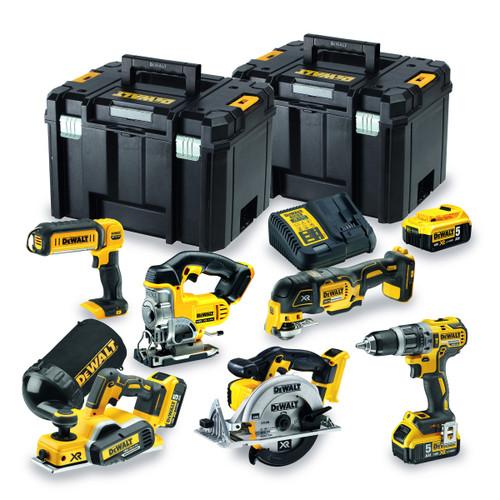 Buy Dewalt DCK665P3T 18V 6 Piece Kit - DCD796 Combi Drill, DCP580 Planer, DCS391 Circular Saw, DCS355 Multi-tool, DCS331 Jigsaw & DCL050 Light (3 x 5.0Ah Batteries) with 2 x TSTAK Boxes at Toolstop