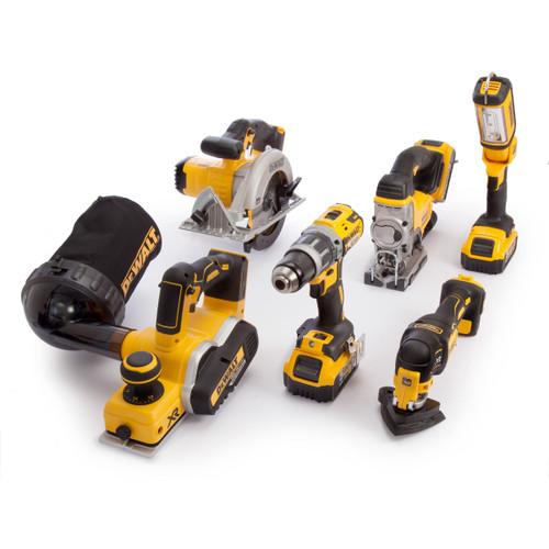 Dewalt DCK665P3T 18V 6 Piece Kit - DCD796 Combi Drill, DCP580 Planer, DCS391 Circular Saw, DCS355 Multi-tool, DCS331 Jigsaw & DCL050 Light (3 x 5.0Ah Batteries) with 2 x TSTAK Boxes - 6